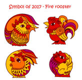 Symbol of 2017 - Red Fire Rooster. Vector set of symbols 2017 - Red fire cock.  contour roosters for new year design on white background Royalty Free Stock Photo