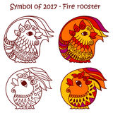 Symbol of 2017 - Red Fire Rooster. Vector set of symbols 2017 - Red fire cock. Isolated contour roosters for new year design on white background Stock Image