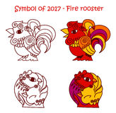 Symbol of 2017 - Red Fire Rooster. Vector set of symbols 2017 - Red fire cock. Isolated contour roosters for new year design on white background Royalty Free Stock Photo