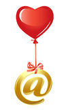 At-symbol with red heart balloon Stock Images