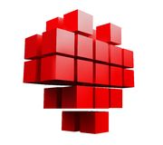 Symbol of red heart from cubes. Royalty Free Stock Photography