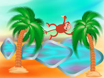 Monkey jumping on a palm tree. Mischievous monkey jumping on the palm stock illustration