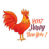 Symbol Red Rooster. Happy New Year design . Chinese Symbol Red Rooster of 2017 Royalty Free Stock Image