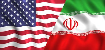 Flag usa and iran waving in the wind silk royalty free illustration