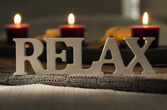 Symbol of relaxation with candles in the background Royalty Free Stock Photography