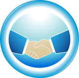 Symbol of reliability - partnership handshake. Blue symbol of reliability - successful partnership handshake Stock Photography