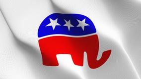 Symbol republikanischer Partei Vereinigter Staaten fahnenschwenkend auf Wind stock abbildung