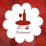 Symbol of restaurant. With red triangular background, vector illustration Royalty Free Stock Photo