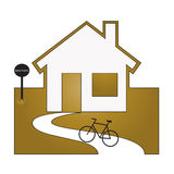 Back home. Symbol of returning home by bike Stock Photography
