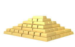 Symbol of riches - pyramid from gold ingots Royalty Free Stock Images