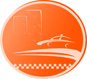 Symbol with road, taxi car and house Stock Photo