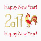 Symbol  rooster for year 2017. New year`s banner with symbol of the year 2017 red rooster Stock Image