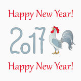 Symbol  rooster for year 2017. New year`s banner with symbol of the year 2017 red rooster and  text Happy New Year 2017 Royalty Free Stock Photos
