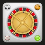 Symbol roulette casino for sports betting with balls. Symbol white roulette casino for sports betting with football soccer, baseball and tennis balls. Bright Royalty Free Stock Photography