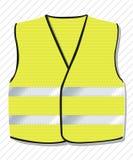 Symbol ruch protestacyjny przeciw Francuskiemu rzędowi, kolor żółty przekazuje Żółty żakiet z odbijającymi lampasami ilustracja wektor