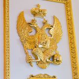 Symbol of Russia, two headed eagle at the ancient palace royalty free stock photography