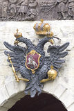 Symbol of Russia, two headed eagle. Two-headed eagle, a symbol of autocratic power. Established in St. Petersburg at the gates of the Peter and Paul Fortress stock photo