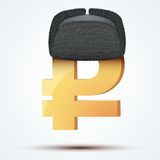 Symbol of the russian ruble in ushanka hat Royalty Free Stock Photography