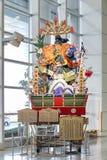 SYMBOL sławny festiwal w Japonia dzwonił Hakatę Gion Yamagasa Matsuri przy Fukuoka lotniskiem, FUKUOKA JAPONIA, MAR - 16, 2014 obraz royalty free
