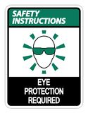 symbol Safety instructions Eye Protection Required Wall Sign on white background vector illustration