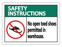 symbol Safety instructions No Open Toed Shoes Sign on white background stock illustration