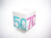 Symbol of sale. On cube Stock Images
