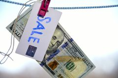 Symbol of sale dollar hanging on a rope with a pinch 100 Royalty Free Stock Photo