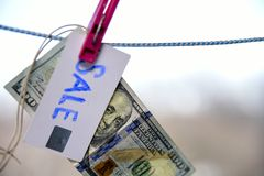 Symbol of sale dollar hanging on a rope with a pinch 100 Royalty Free Stock Images
