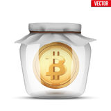 Symbol of save digital money. Symbol of saving digital money. Glass jar with cryptocurrency bitcoin insight. Vector Illustration isolated on background Royalty Free Stock Photo