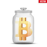Symbol of save digital money. Symbol of saving digital money. Glass jar with cryptocurrency bitcoin insight. Vector Illustration isolated on background Royalty Free Stock Image