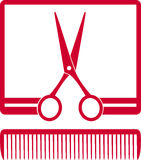 Symbol with scissors and comb in frame Royalty Free Stock Photos