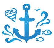 A symbol sea anchor and waves Royalty Free Stock Images
