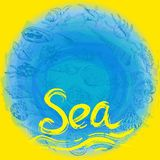 Symbol of the sea ocean trendy print Round composition Beige sand. Summer sea shells, molluscs on blue yellow abstract background. royalty free illustration