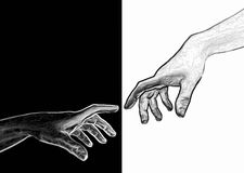 Creation of Adam by Michelangelo vector illustration