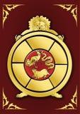 Bouddhist symbol-Golden Samsara Wheel. Samsara circle with three causes of death and rebirth:  three poisons, jealousy, ignorance, attachment Stock Photography