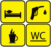 Symbol set - gas station, bed, wc and coffee cup Royalty Free Stock Image