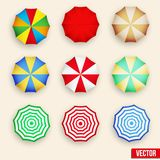 Symbol set of a parasol, top view. Royalty Free Stock Images