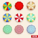 Symbol set of a parasol, top view. Beach set symbols of sun umbrellas. Summer sunny parasol. Vector, eps10 vector illustration