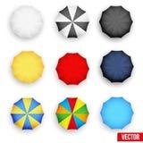 Symbol set of a parasol, top view. Vector. Set symbols of rain umbrellas. Seasons objects parasol. Vector Illustration on white background vector illustration
