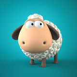 Symbol of 2015. Sheep on blue background. Illustration of 2015 y. Ear of the sheep Stock Photo