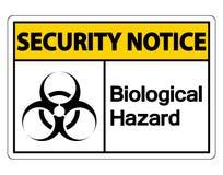 Symbol Sicherheitsmitteilung biologisches Gefahrensymbol-Zeichen auf weißem Hintergrund, Vektorillustration lizenzfreie abbildung