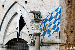 Symbol of Siena with the Palio flags. Palace with flags Palio of the different Siena contrades Romulus and Remus suckled by the wolf, is the symbol of the city stock photo
