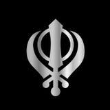 Symbol of Sikhism. Religious Symbol of Sikhism on black Royalty Free Stock Image