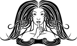Symbol of silence. Second variant, girl pressing a finger to her lips, stencil in art-nouveau style Royalty Free Stock Photography