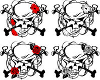 Symbol with skull. Abstract symbol with skull, crossbones, barbed wire and flowers in vector format. Red, black and white Stock Images