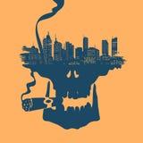 Symbol Skull and city Royalty Free Stock Photos