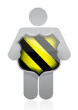 Symbol som rymmer en säkerhetssköld Arkivbild