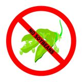 Symbol: Soybean-Free Text. Symbol for soybean-free food for those with soy allergies with explicit text Stock Illustration