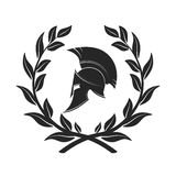Symbol a Spartan helmet in a laurel wreath. On the image presented Symbol a Spartan helmet in a laurel wreath vector illustration