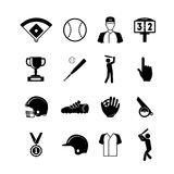 Symbol of Sport Baseball Black Icons Set. Vector Royalty Free Stock Photography